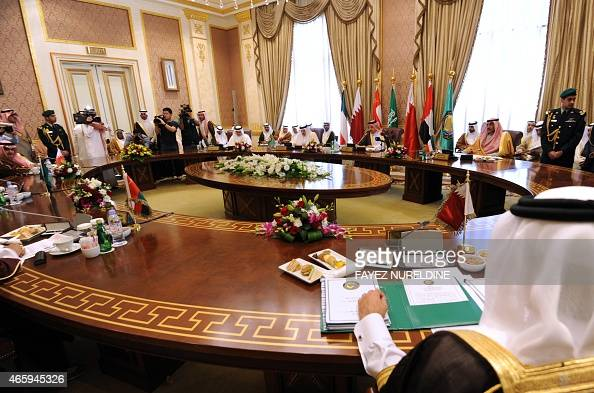 A general view shows the ordinary meeting of 134th session of the Gulf Cooperation Council on March 12 2015 in Riyadh The Meeting will discuss...
