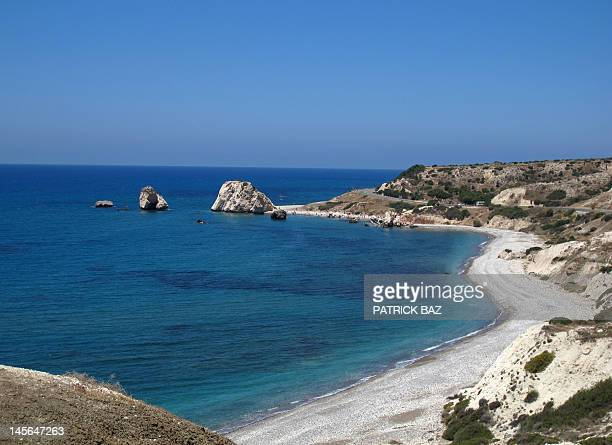 A general view shows the Petra Tou Romiou in the southwestern Paphos region in the east Mediterranean island of Cyprus on June 1 2012 The site...