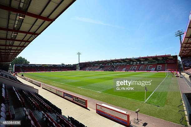 A general view shows the pitch and stands inside the Vitality Stadium in Bournemouth southern England on August 8 2015 ahead of the English Premier...