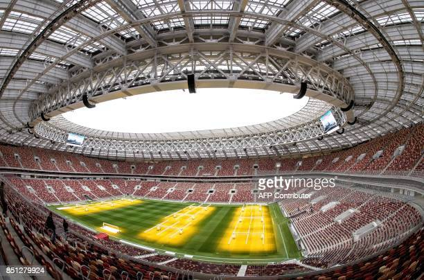 A general view shows the pitch and the tribunes of the Luzhniki Stadium in Moscow on September 22 2017 Luzhniki Stadium will host seven matches...