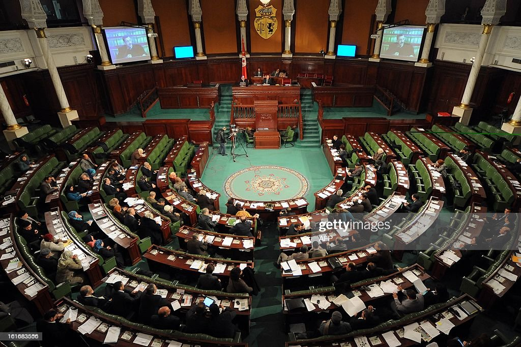 A general view shows the plenary session of the National Constituent Assembly (ANC) on February 14, 2013 in Tunis. Embattled Tunisian Prime Minister Hamadi Jebali said he will announce on February 15, a new government line-up, warning that he will quit if it is rejected. AFP PHOTO/SALAH HABIBI