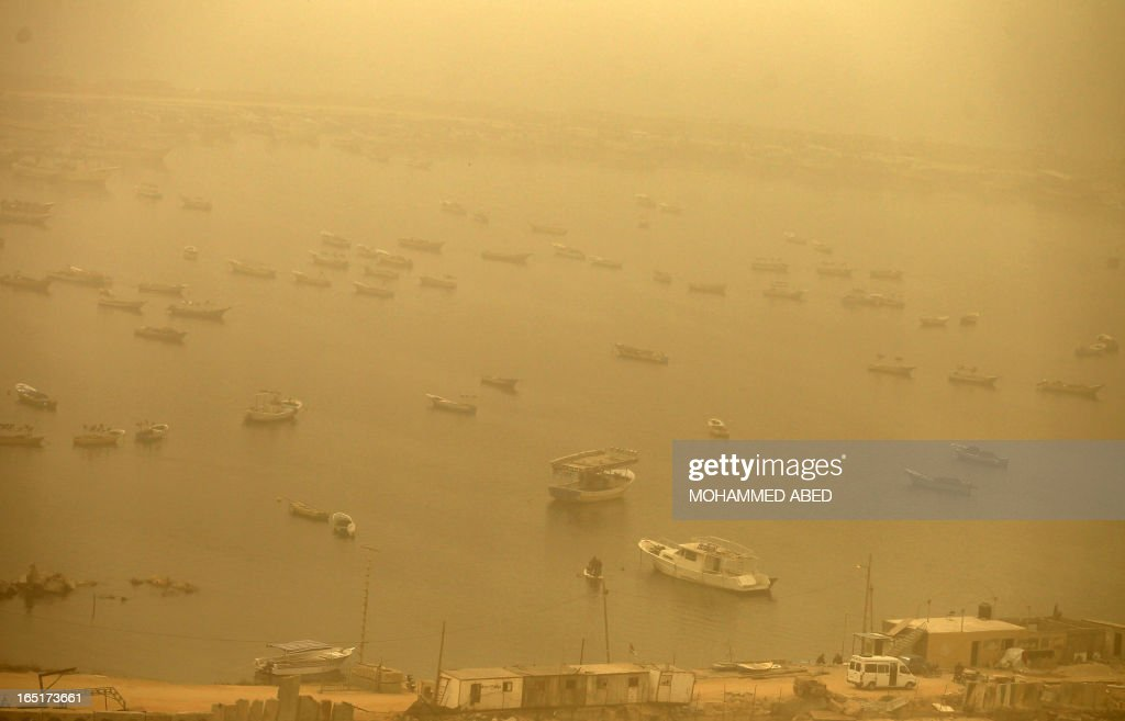 A general view shows the port in Gaza City during a dust storm on April 1, 2013.