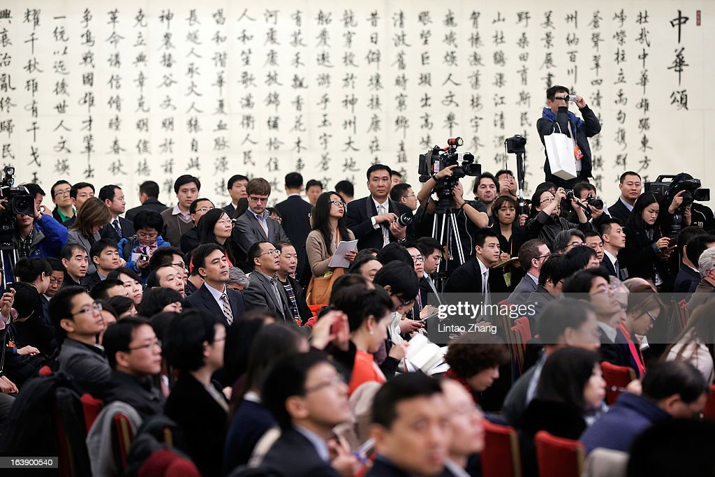 A general view shows the press conference reporters interview of China's Premier Li Keqiang at the Great Hall of the People on March 17, 2013 in Beijing, China. Li Keqiang was elected as China's Premier last Friday at the 12th National People's Congress, the country's top legislature.