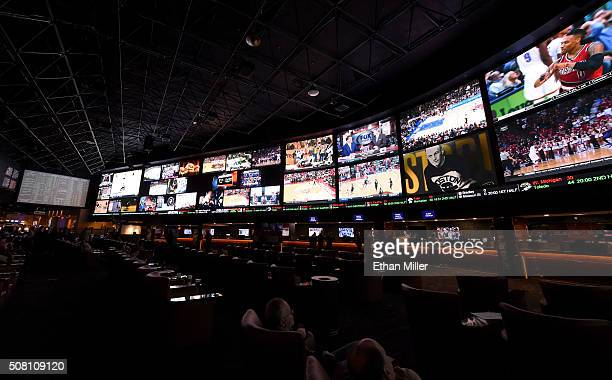 A general view shows the Race Sports SuperBook at the Westgate Las Vegas Resort Casino on February 2 2016 in Las Vegas Nevada The newly renovated...