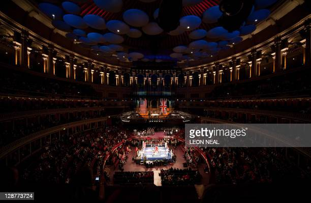 A general view shows the ring and interior of the hall during the 'Royal Albert Hall Cup' at the Royal Albert Hall in central London on October 7...