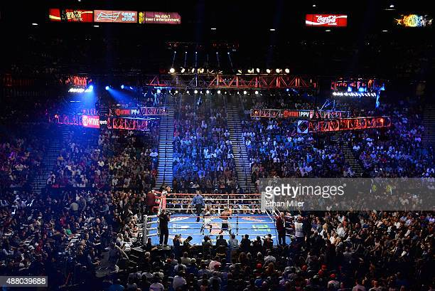 A general view shows the ring during the WBC/WBA welterweight title fight between Floyd Mayweather Jr and Andre Berto at MGM Grand Garden Arena on...