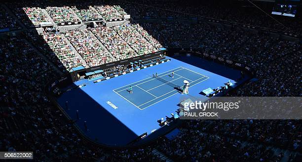 A general view shows the Rod Laver court where France's Gilles Simon and Serbia's Novak Djokovic are playing during their men's singles game on day...
