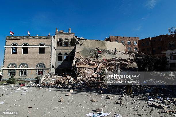 A general view shows the rubble of the building of the Chamber of Commerce and Industry which was destroyed during air strikes on the capital Sanaa...