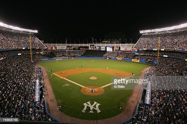 A general view shows the scoreboard during the New York Yankees game against the Boston Red Sox on May 23 2007 at Yankee Stadium in The Bronx New...