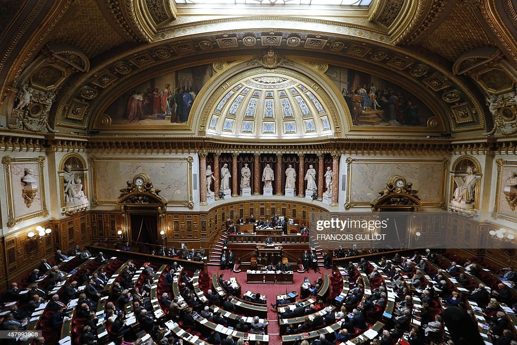 A general view shows the senators attending a speech of the French Prime Minister on a territorial reform on October 28 2014 at the Senate in Paris...