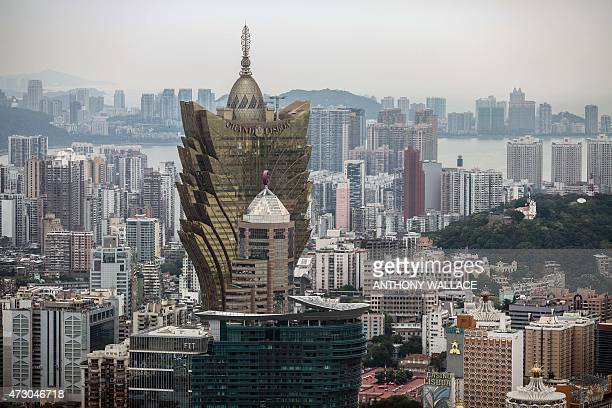 A general view shows the skyline and the Grand Lisboa casino in Macau on May 12 2015 The former Portuguese colony saw its secondworst monthly casino...