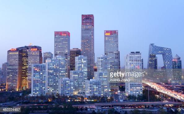A general view shows the skyline of a central business district in Beijing on November 27 2013 Foreign investment into China rose 577 percent on year...