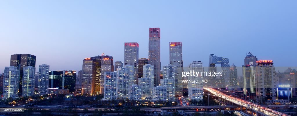 A general view shows the skyline of a central business district in Beijing on November 27, 2013.