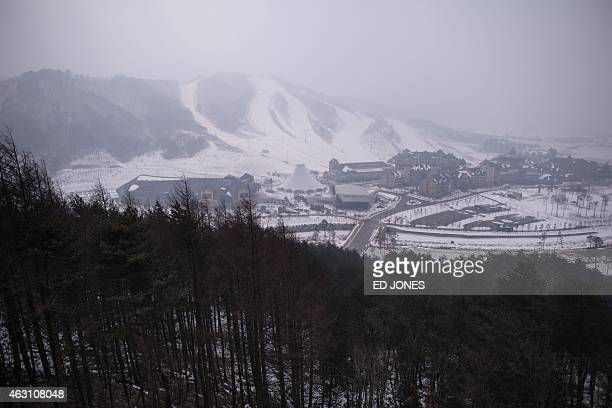 A general view shows the slopes of the Alpensia resort a venue of the Pyeongchang 2018 winter Olympics in Pyeongchang on February 10 2015 The...