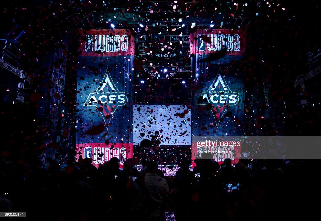 A general view of the stage during a news conference as the WNBA and MGM Resorts International announce the Las Vegas Aces as the name of their franchise at the House of Blues Las Vegas inside Mandalay Bay Resort and Casino on December 11, 2017 in Las Vegas, Nevada. In October, the league announced that the San Antonio Stars would relocate to Las Vegas and begin play in the 2018 season at the Mandalay Bay Events Center.