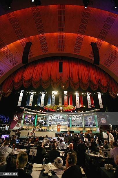A general view shows the stage during the 2007 NFL Draft on April 28 2007 at Radio City Music Hall in New York New York