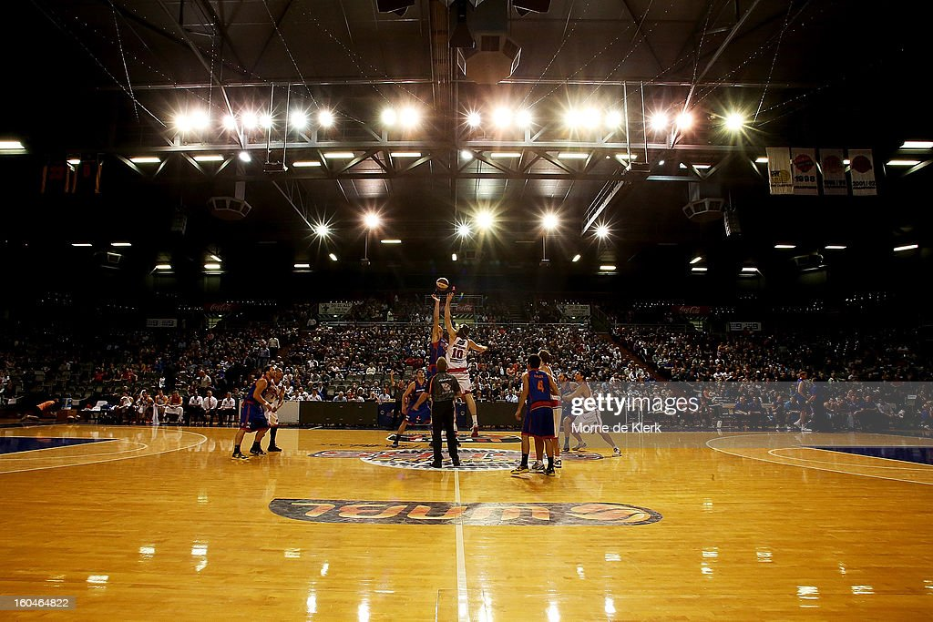 A general view shows the start of the round 17 NBL match between the Adelaide 36ers and the Wollongong Hawks at Adelaide Arena on February 1, 2013 in Adelaide, Australia.