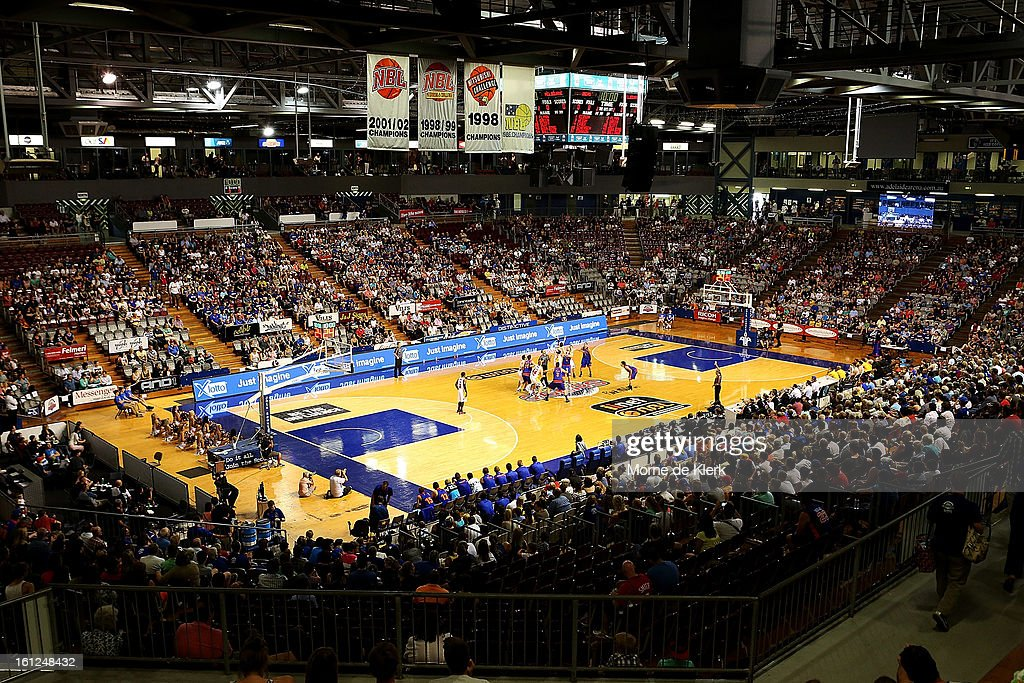 A general view shows the start of the round 18 NBL match between the Adelaide 36ers and the Melbourne Tigers at Adelaide Arena on February 10, 2013 in Adelaide, Australia.