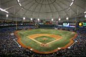 A general view shows the Tampa Bay Devil Rays game against the Oakland Athletics at Tropicana Field on May 5 2007 in St Petersburg Florida The Devil...