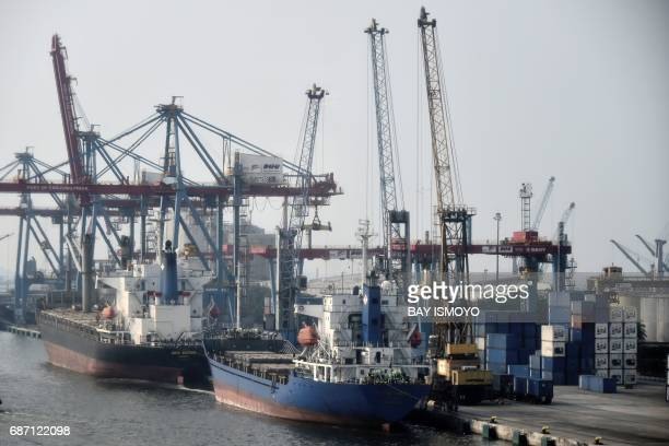A general view shows the Tanjung Priok container sea port in Jakarta on May 23 2017 The port's vessel traffic service makes use of a Swedishmade...