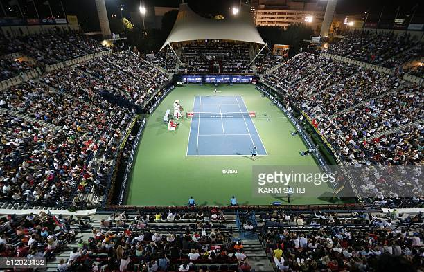 A general view shows the tennis court as Novak Djokovic of Serbia plays against Tunisian Malek Jaziri during their ATP tennis match on the third...