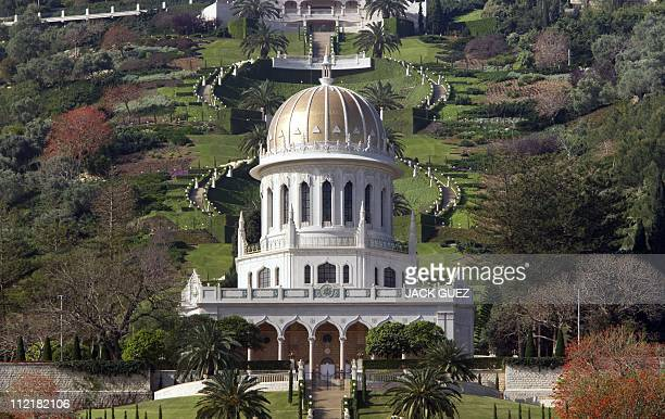 A general view shows the terraced gardens and the golden Shrine of Bab following renovation works at the Bahai World Center in the Israeli port city...