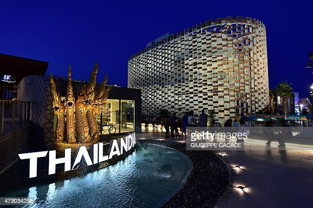 A general view shows the Thailand pavillion at the site of the Universal Exhibition 2015 in Milan late on May 11 2015 The exhibition will run until...