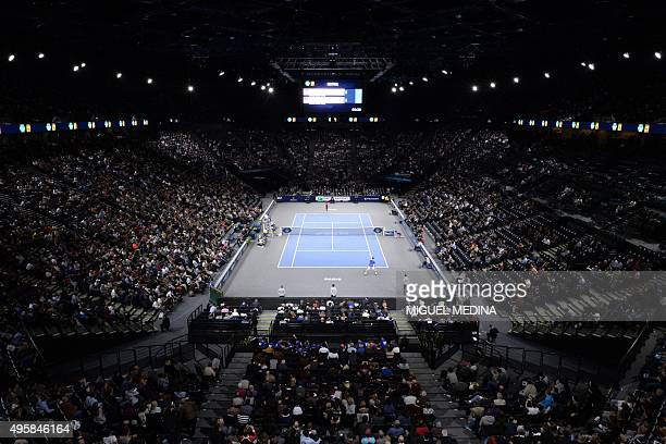 A general view shows the third round tennis match between Serbia's Novak Djokovic and France's Gilles Simon at the ATP World Tour Masters 1000 indoor...