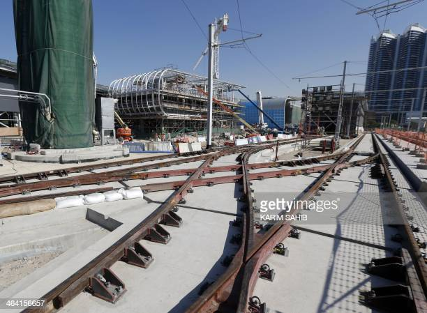 A general view shows the tracks of the Dubai tramway project under construction as the first tram was delivered by French company 'Alstom' to Dubai...