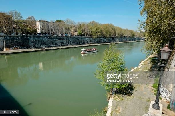 A general view shows the 'Triumphs and Laments' fresco which was completed along the banks of Romes Tiber river less than a year ago by South African...