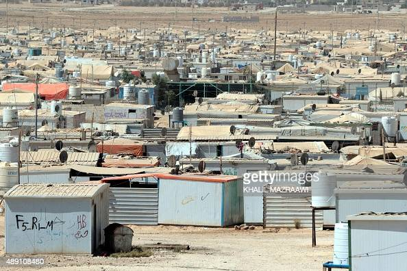 A general view shows the UNrun Zaatari camp for Syrian refugees north east of the Jordanian capital Amman on September 19 2015 UN Humanitarian Chief...