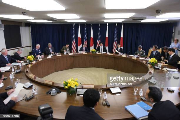 A general view shows the USJapan Security Consultative Committee with US Secretary of State Rex Tillerson and Japan's Defense Minister Itsunori...