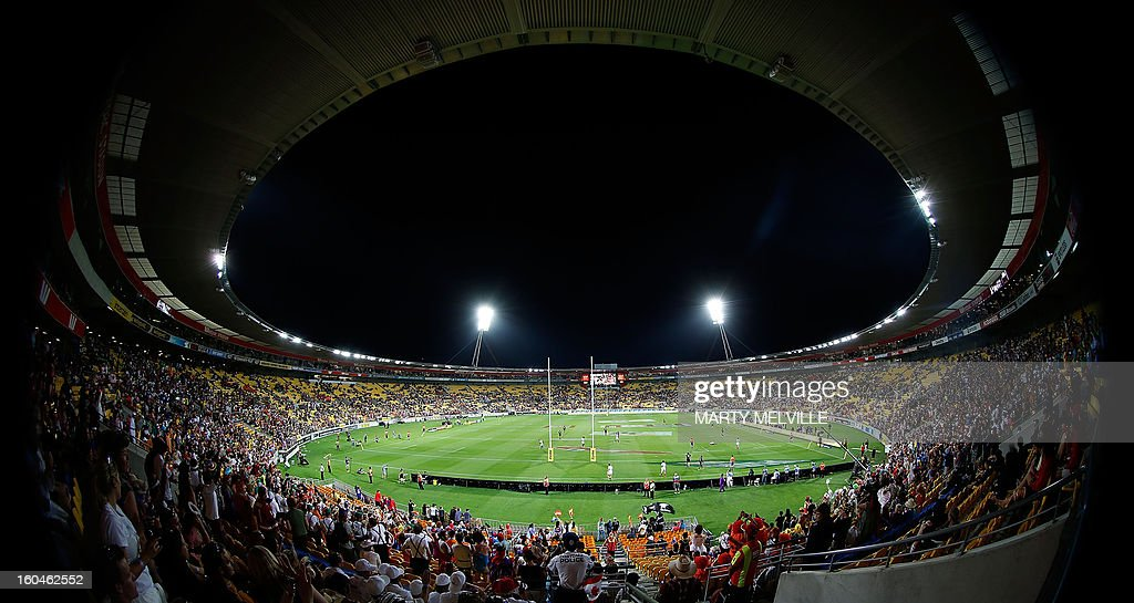 A general view shows the Westpac Stadium during the fourth leg of the IRB Rugby Sevens World Series in Wellington on February 1, 2013. AFP PHOTO / Marty MELVILLE