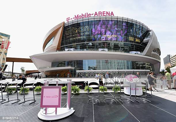 A general view shows TMobile Arena before the venue's grand opening on the Las Vegas Strip on April 6 2016 in Las Vegas Nevada