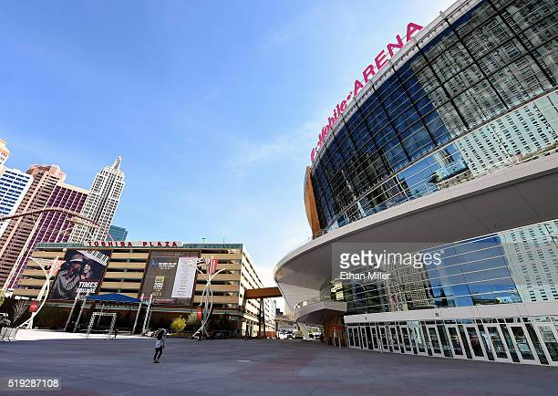A general view shows TMobile Arena next to the New YorkNew York Hotel Casino and parking garage on April 5 2016 in Las Vegas Nevada The USD 375...