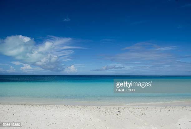 A general view shows Turtle Beach during a tour by US President Barack Obama of Midway Atoll in the Papahanaumokuakea Marine National Monument in the...