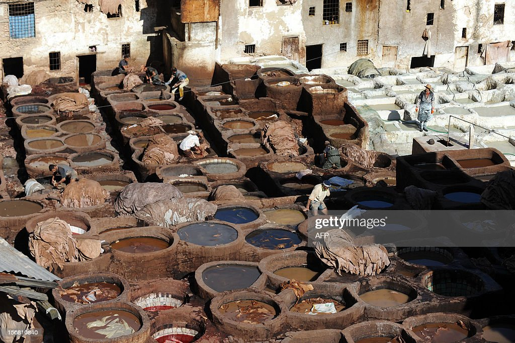 A general view shows workers working at the tanneries in Fes on November 21, 2012 .AFP / PHOTO / FADEL