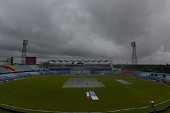 A general view shows Zahur Ahmed Chowdhury Stadium in Chittagong as the rain falls during the final day of the first cricket Test match between...