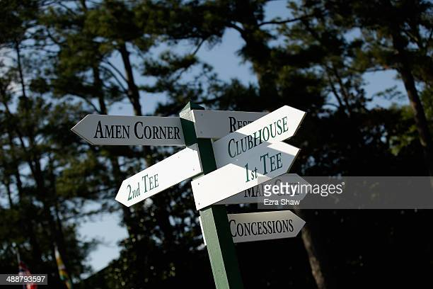 A general view signs near the entrance prior to the start of the 2014 Masters Tournament at Augusta National Golf Club on April 9 2014 in Augusta...