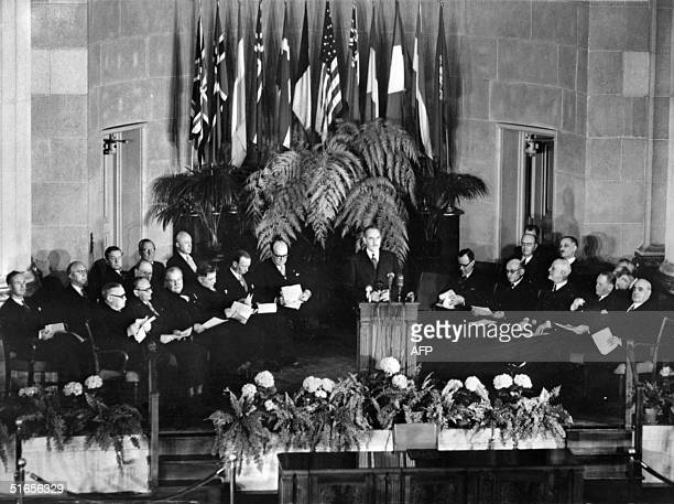 General view taken 04 April 1949 in Washington of the official signing ceremony creating the North Atlantic Treaty Organization
