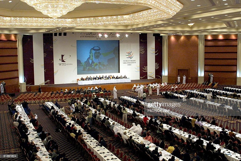 A general view taken 14 November 2001 shows the closing ceremony of the World Trade Organization conference in Doha The WTO ministers approved the...