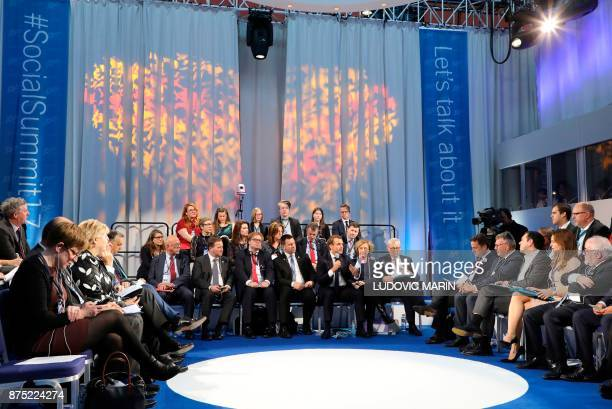 General view taken as France's President Emmanuel Macron speaks as Sweden's Prime minister Stefan Lofven and European Commission President JeanClaude...