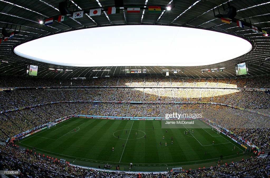A general view taken during the FIFA World Cup Germany 2006 Group F match between Brazil and Australia at the Stadium Munich on June 18 2006 in...