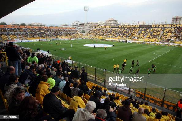 General view taken during the Super League match between Aris Salonika and AEK Athens held on October 25 2009 at the Kleanthis Vikelidis Stadium in...