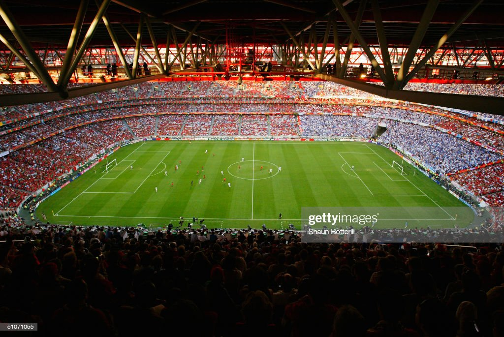 General view taken during the UEFA Euro 2004 Final match between Portugal and Greece held on July 4 2004 at the Estadio da Luz in Lisbon Portugal