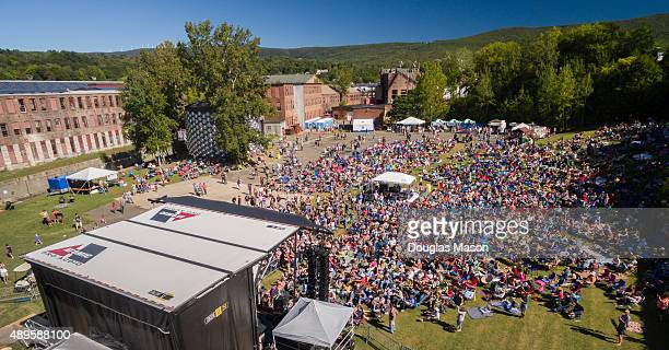 General View taken from an aerial drone during the FreshGrass Bluegrass Festival 2015 at MASS MoCA on September 20 2015 in North Adams Massachusetts