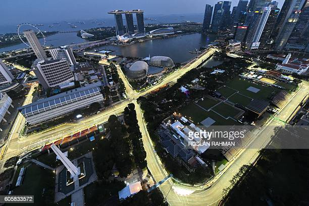 A general view taken from Swissotel The Stamford shows the lit circuit for the upcoming Formula One Singapore Grand Prix night race on September 15...