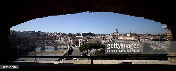 A general view taken from the Castel Sant'Angelo terrace shows StPeter's Basilica and the Tiber river on February 2 2015 in Rome AFP PHOTO / FILIPPO...