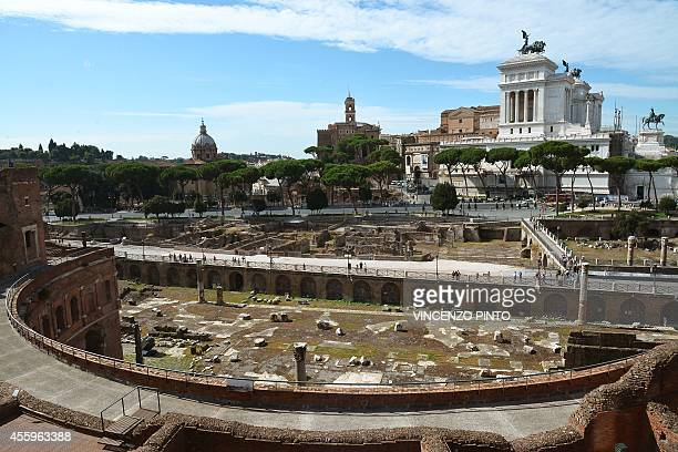 A general view taken from the Trajan's Market shows the Vittorio Emmanuele II monument near Piazza Venezia on September 23 2014 in Rome AFP PHOTO /...