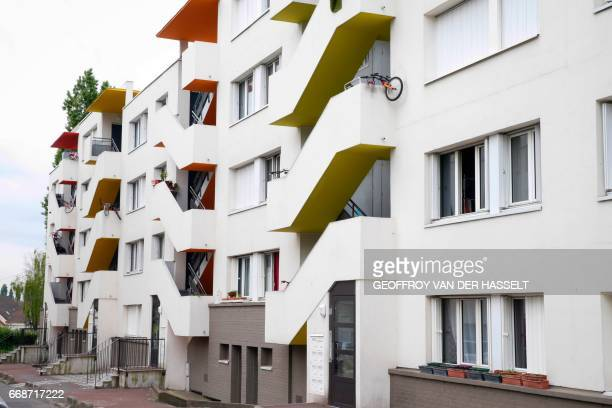 A general view taken on April 14 2017 shows an HLM building that is part of the HLM housing estate of AulnaysousBois a commune in the SeineSaintDenis...